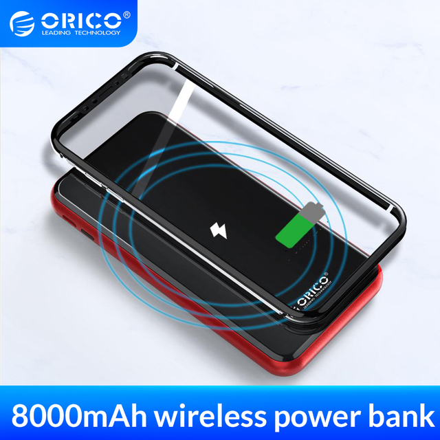 ORICO 8000mAh Wireless Power Bank for iphone X XS XR USB Type C External Battery Bank Wireless Charging For Samsung Smartphone