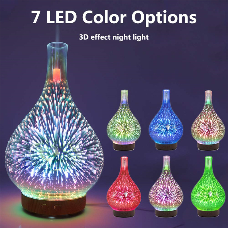 3D фейерверк Стекло ваза Форма увлажнитель воздуха с светодиодный ночной Светильник арома-диффузор для эфирных масел, тумана