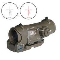 Tactical Rifle Scope 1x-4x Fisso Dual Purpose Scope Rosso illuminato Red Dot Vista per Fucile di Caccia di Tiro con Gomma Coperture
