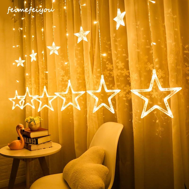 LED Curtain Light Star Shape String Christmas Wedding Fairy Garland String Outdoor Garden Bedroom Living Room Curtain Decor