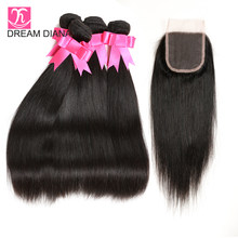 DreamDiana Remy Straight Hair 3/4 Bundles With Lace Closure Natural Color 100% Vietnamese Hair With Closure Express Delivery(China)