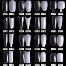 100/500PCS PRO White Clear V Straight Round End Full/Half acrilico Ballet bara French False Nail Tips falso unghia punta Manicure