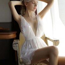 Сексуальный мусс Женская одежда для сна кружевная короткая юбка с открытой спиной вышивка Белая Лолита высокое качество глубокий V женское белье Милое новое черное