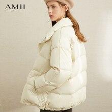 Amii Winter European Station 90% White Duck Down Solid Coat Female Winter Garment New Warm Short Bread Coat 11940599