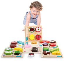 Wooden Toy Kitchen Cut Fruits Vegetables Dessert Kids Cooking Food Pretend Play Puzzle Educational Toys for Children