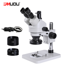 zoom 3.5 90X soldering PCB smartphone phone repair HD Stereo Trinocular Microscope Industrial aluminum solder LED Ring light