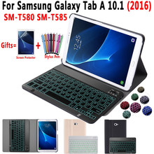 Lampu Backlit Keyboard Case untuk Samsung Galaxy Tab A6 10.1 2016 SM-T580 SM-T585 T580 T585 Tablet Menutupi Bluetooth Keyboard(China)