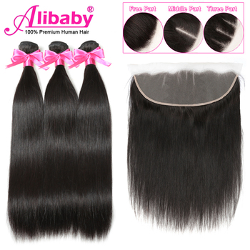 Alibaby Brazilian Straight Hair Bundles With Closure Natural Color Wet And Wavy Human Hair Bundles With Frontal Non Remy alibaby 3 bundles with frontal remy kinky curly bundles with closure natural color human hair bundles with frontal closure 13x4