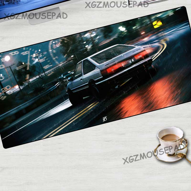 XGZ Anime Initial D First Stage Large Gaming Mouse Pad Black Lock Edge Computer Table Mat Speed Rubber Non-slip Custom Carpet