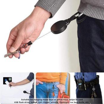 Nuevo llavero retráctil, Clip para cinturón, carrete de mosquetón, tarjetero, insignia, soporte, retroceso, se extiende a 60 cm, espalda giratoria extraíble
