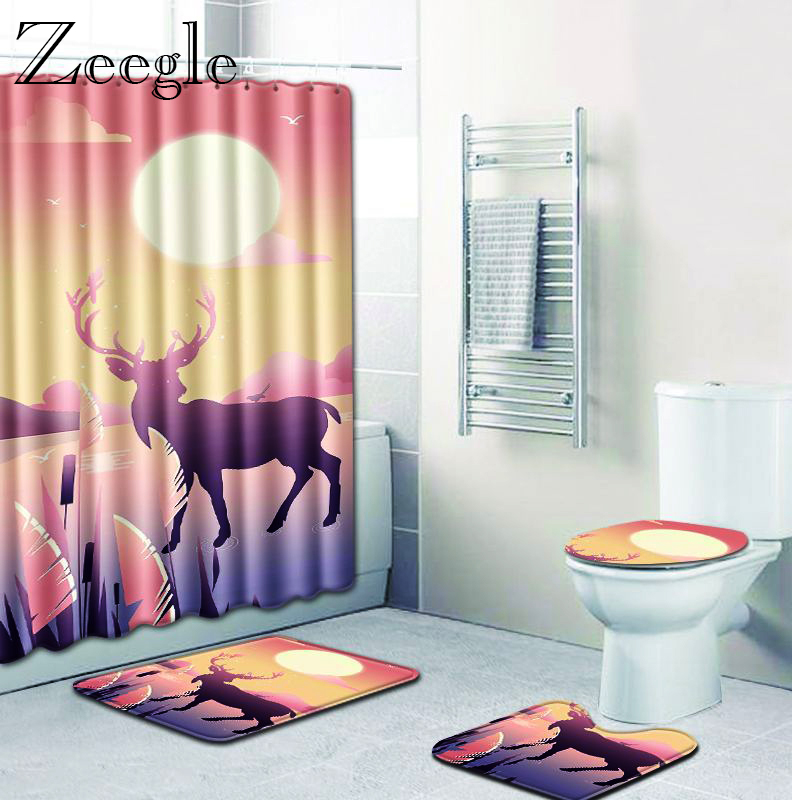 <font><b>Bathroom</b></font> Curtain Bath <font><b>Mat</b></font> Set <font><b>Deer</b></font> Printed <font><b>Bathroom</b></font> Doormat Shower <font><b>Mat</b></font> Absorbent Toilet Pedestal Rug Soft Decoration Toilet Rug image
