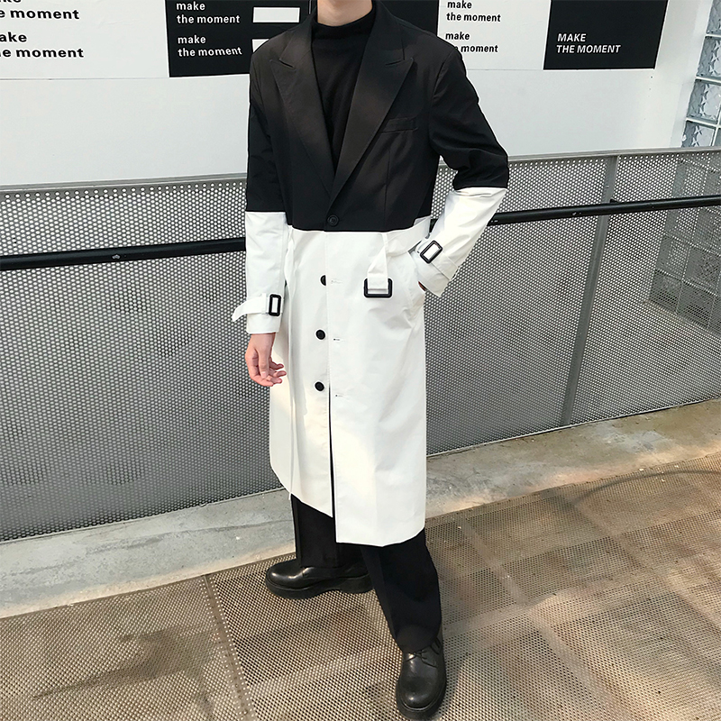 Men Loose Casual Black Splice White Long Trench Coat Male Vintage Streetwear Belt Windbreaker Outerwear Overcoat Jacket
