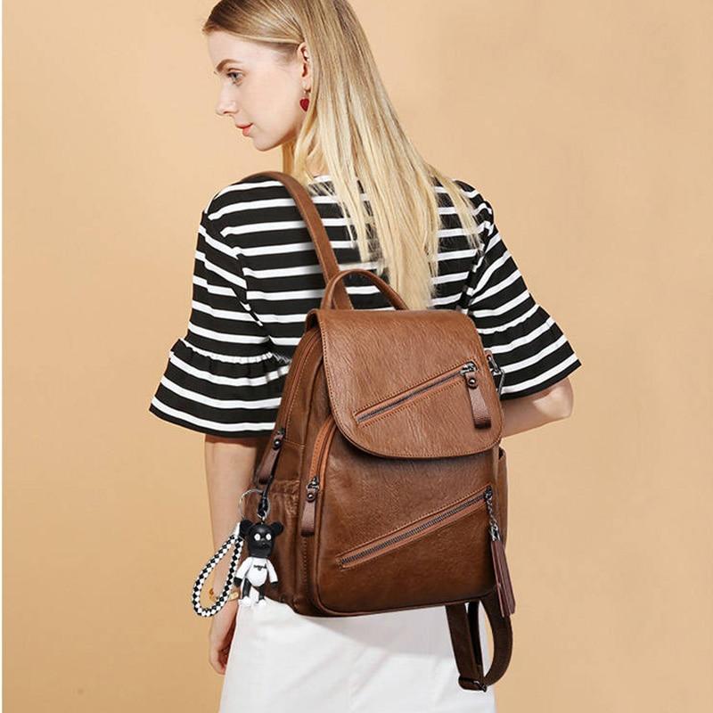 Women Retro PU Leather Rucksack Big Capacity School Bag For Teenager Girl Travel Bolsas Vintage Tassels Backpack New