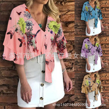 2019 summer womens seven-point sleeve V-neck ladies blouse printing large size shirt clothing