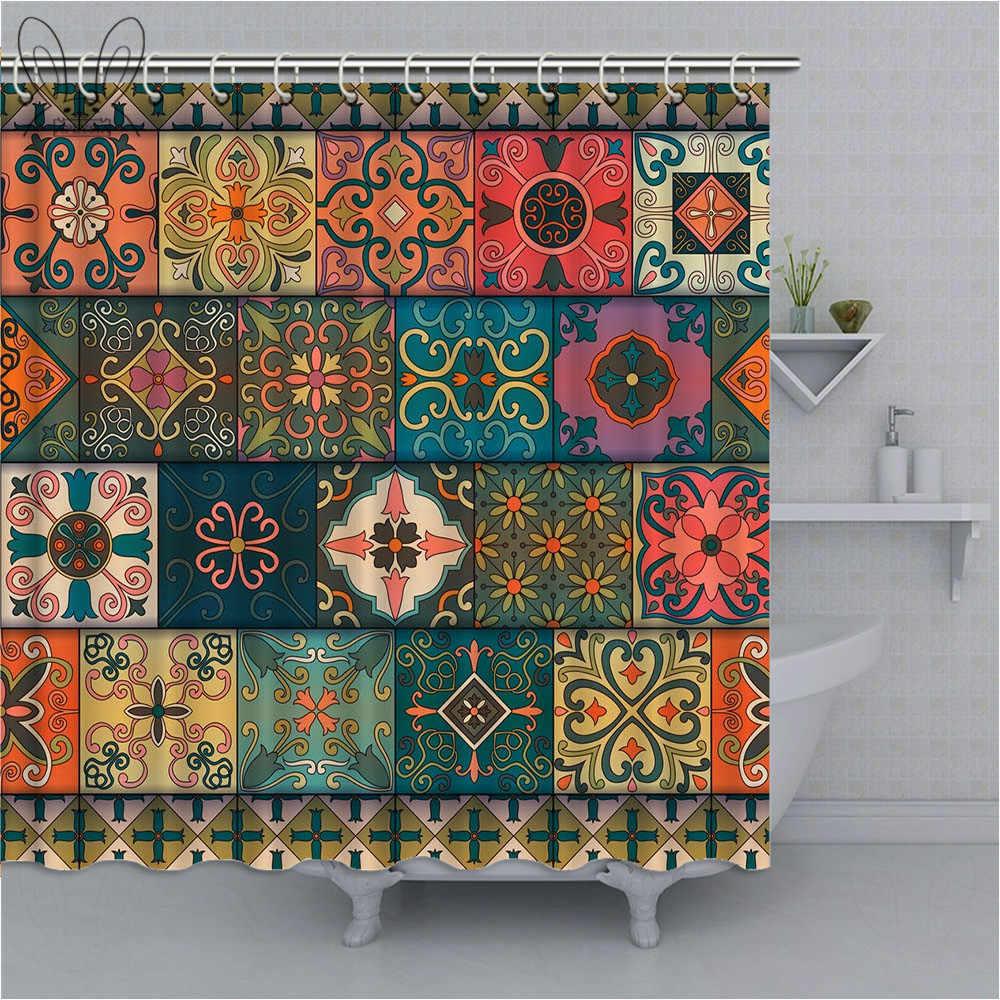 India Mandala Douchegordijn Kleurrijke Bloem Bad Gordijn Waterdicht Polyester Stof Douchegordijn Home Decor Met Douche Sets