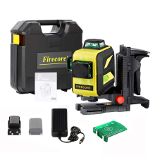 Firecore Suitcase 12Lines 3D Lithium Battery Green Laser level Super Strong Outdoor Laser Line Measuring Tools