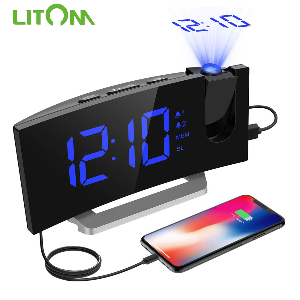 LITOM HM353 FM Radio Projection Alarm Clock With Dual Alarm Snooze Function With USB Charging Port 5'' Large Display Sleep Timer
