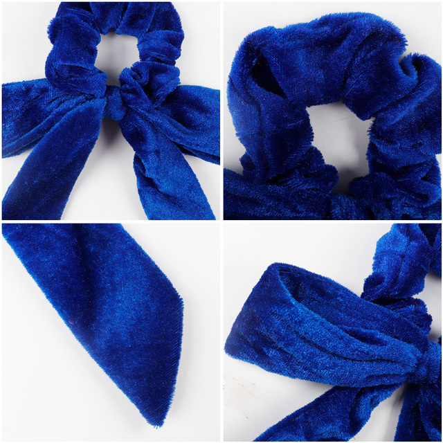 Winter Velvet Scrunchies For Women Elastic Cross Hairbow Hairbands Solid Hair Ropes Girls Hair Ties Hair Accessories Rubber Band