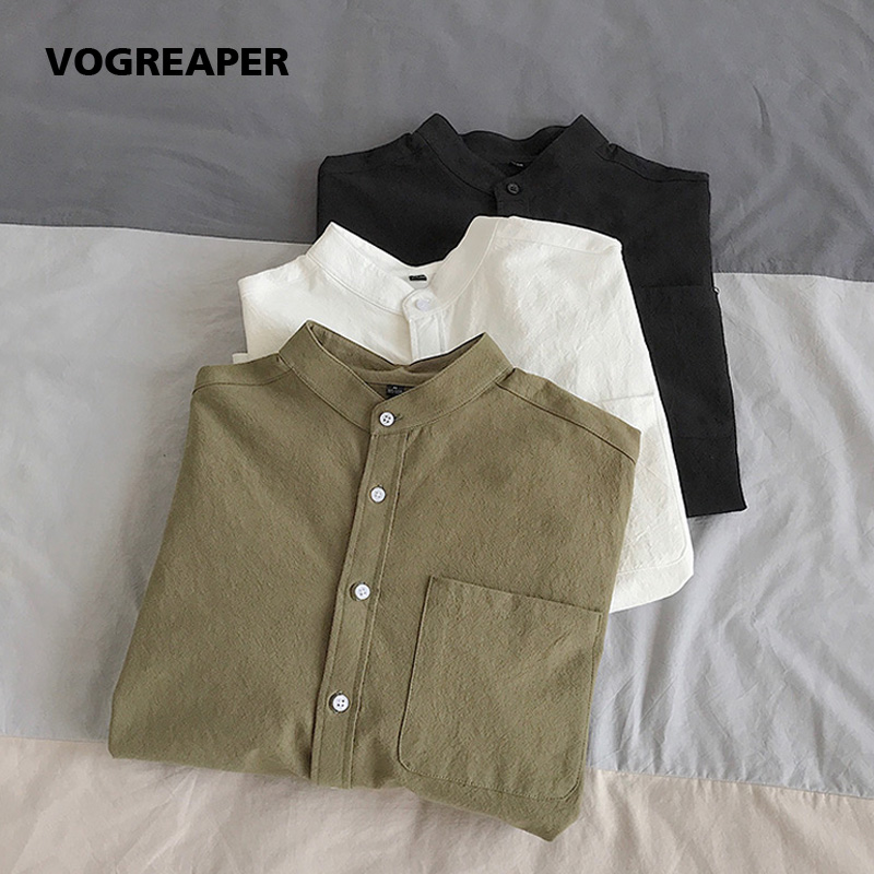 Simple Design Solid Colors Long Sleeve Shirts Korean Fashion Mandarin Collar 100% Cotton White Black Shirt Soft and Comfort 1