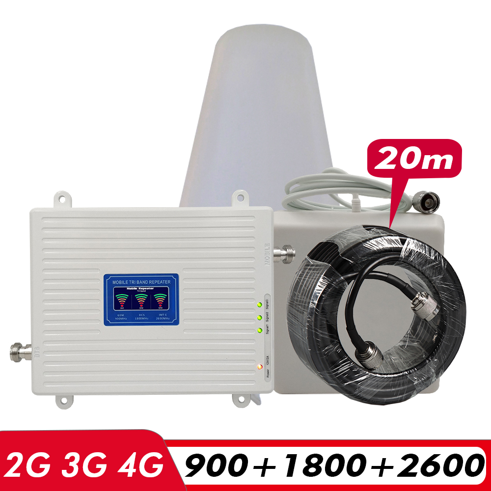 2G 3G 4G Tri-Band Booster GSM 900+DCS LTE 1800(Band 3)+FDD LTE 2600(Band 7) Cell Phone Signal Repeater Signal Amplifier Set #20M