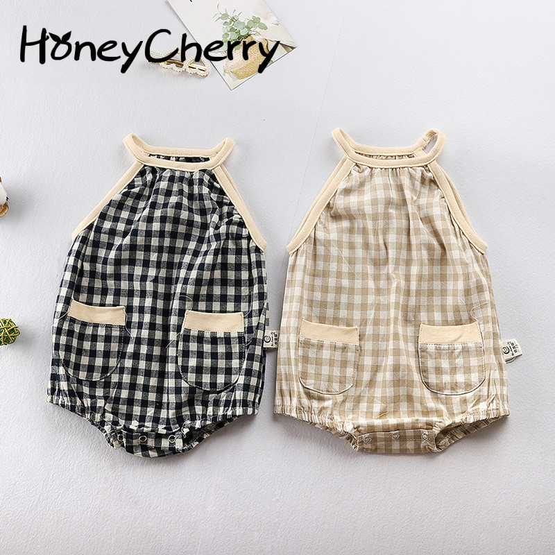 New Summer Baby Girl Bodysuits Suspension Lattice Button Pack Kids Climbing Clothes Baby Girl Summer Clothes