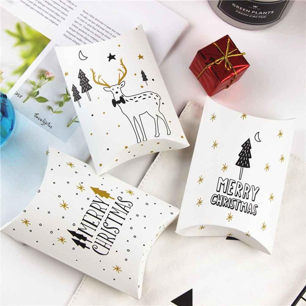 1 PC Merry Natal Permen Hadiah Kotak Rusa dan Pohon Natal Tamu Kemasan Kotak Hadiah Tas Natal Pesta Anak-anak dekorasi Hadiah Kotak