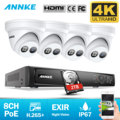 ANNKE 8CH 4K Ultra HD POE сетевая видео система безопасности 8MP H.265 + NVR с 4 шт 8MP Всепогодная IP камера CCTV комплект безопасности