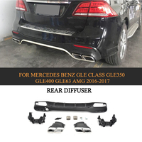PP Rear Bumoer Diffuser Lip For Mercedes Benz GLE Class GLE350 GLE400 GLE63 AMG SUV 4 Door 2016 2017 Rear Diffuser with Tips
