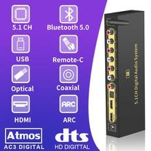 Hd820b 5.1ch conversor de áudio decodificador bluethooth 5.0 receptor dac hdmi-compatível com arco spdif coaxial dtshd ac3 flac ape 4k 192khz