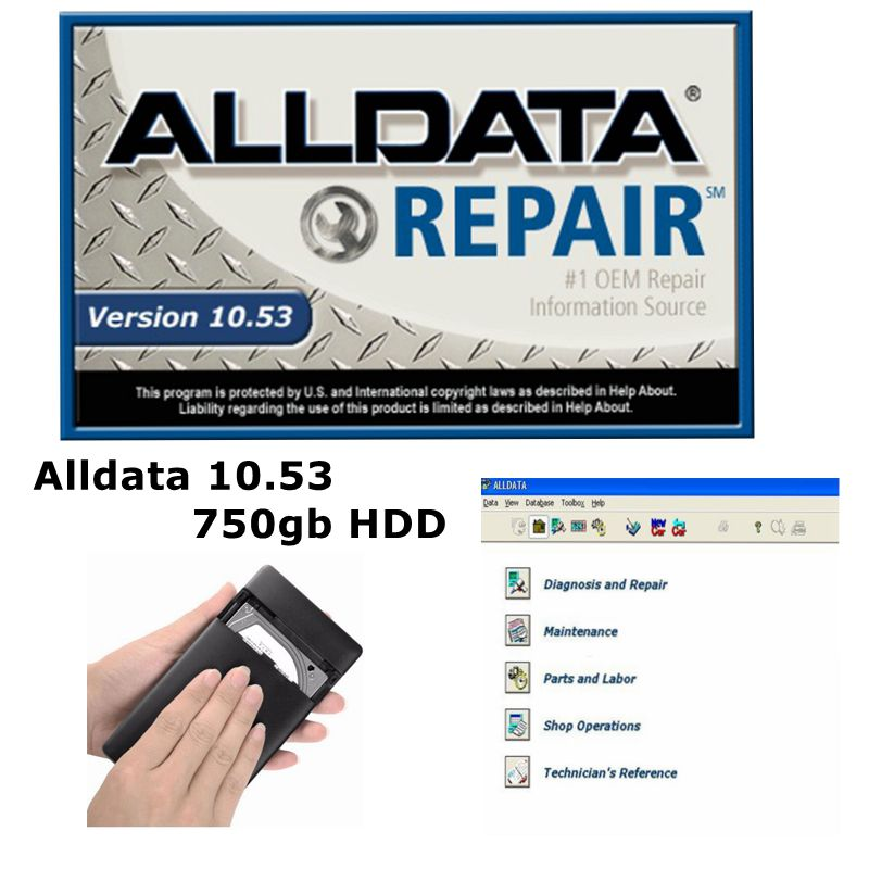 2020 Hot Alldata V10 53 Auto Repair Software All Data Car Programmer with Tech Support for Cars and Trucks USB 3 0 750gb HDD