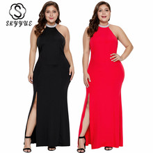 Skyyue Evening Dress Solid Elegant Plus Size Women Party Dresses Sleeveless Robe De Soiree Halter Crystal Gown 2019 T021