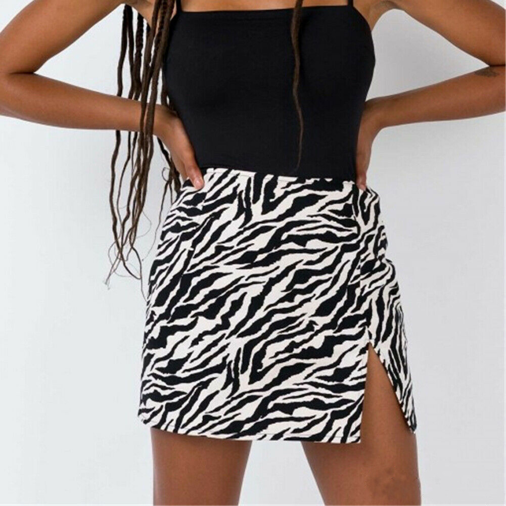 Women Serpentine Skirt Ladies Leopard High Waist Pencil Wrap Skirt Leopard Bodycon Mini Skirts Zebra Club Wear Side Split Skirts