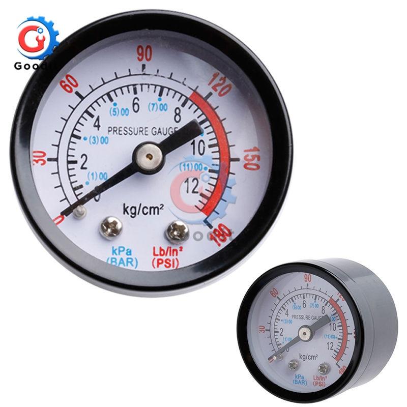 "Bar Air Pressure Gauge 0-180PSI 0-12Bar 1/8"" Male Thread Air Compressor Hydraulic Fluid Pressure Gauge For Air Compressor Iron"