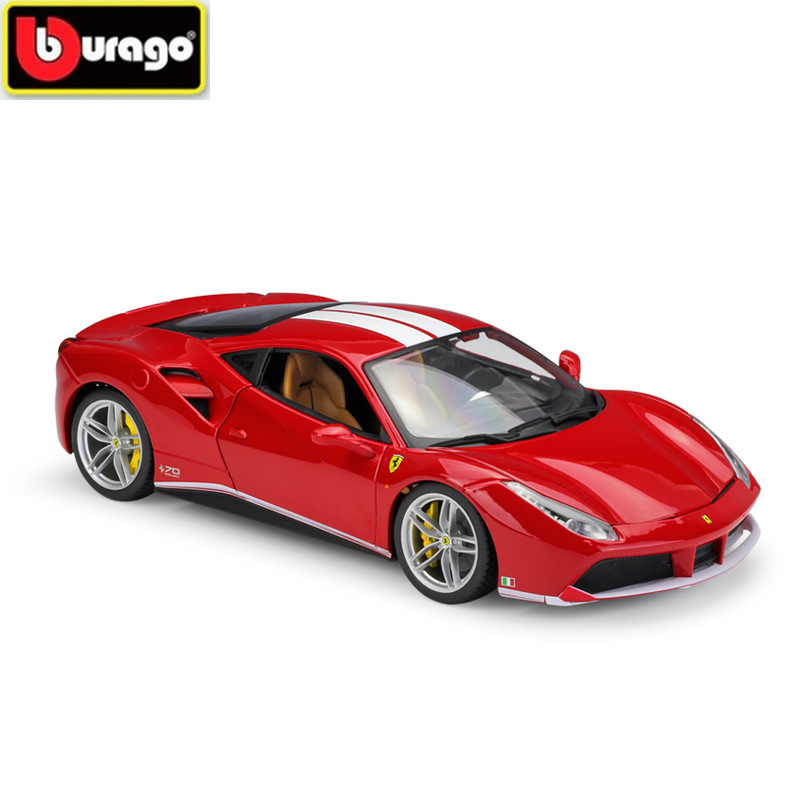 BBURAGO 1:18 Diecasts FERRAR 488GTB Sports Car 70 Anniversary Edition Simulation Alloy Car Model Toy and Gift Free Shipping