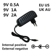 AC 100-240V DC 9 V 0.5A 1A 2A электрогитара Stompbox адаптер питания зарядное устройство 9 V Вольт для гитарных частей педаль эффектов доска