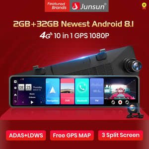 "Junsun A103 New Triple screen 4G Android 8.1 Car RearView Mirror Camera 12"" ADAS DVR Dash Cam Wifi GPS Navigator Dashcam Cameras(China)"