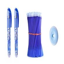 Conjunto de caneta apagável, 0.5mm, azul, preta, tinta, gel, recarga, hastes, lavável, alça para escola, escritório, papelaria suprimentos