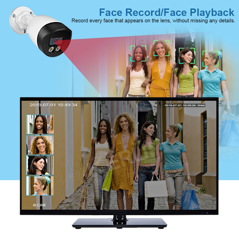 KERUI Face Record 5MP HD POE Camera  AI IP Camera Outdoor Waterproof Video Surveillance Camera NVR Kit CCTV Security System