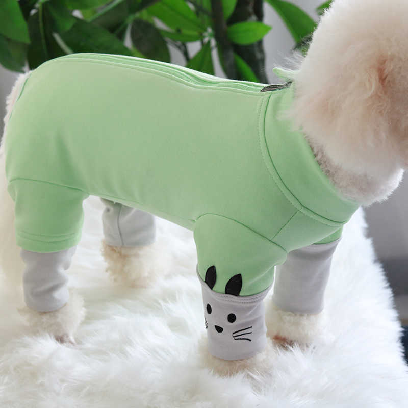 Pet Dog Jumpsuit Autumn/Winter Combed Cotton Puppy Clothes Protect Belly Overalls For Small Dogs Pajamas Long Sleeve Sweatshirt