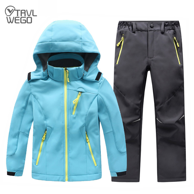 TRVLWEGO Autumn Winter Children Coat And Pants Set Hood Outdoor Camping hiking Ski Jacket&pant Student Windproof Waterproof|Skiing Jackets| |  - title=