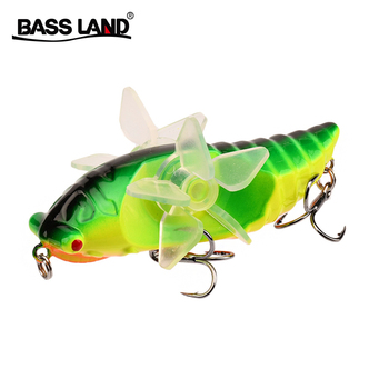 цена 2020 New Cicada Whopper Topwater Popper Fishing Lures 75mm 14g Hard Bait Wobblers Rotating Double Propeller Fishing Tackle онлайн в 2017 году
