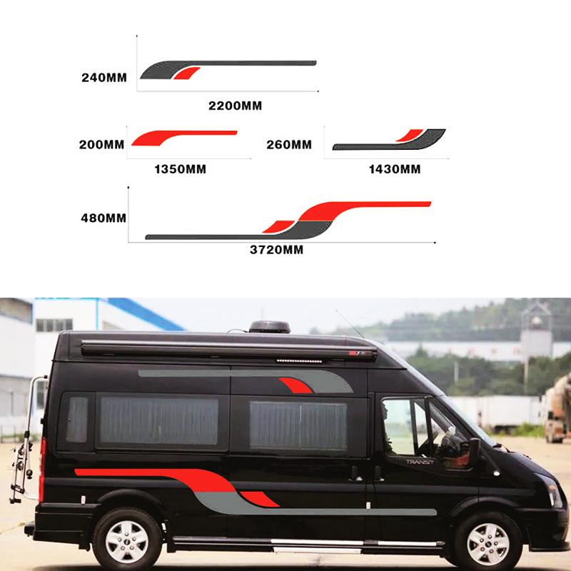 Car Sport Stripes Graphics Vinyl <font><b>Stickers</b></font> Auto Body Both Side Decor <font><b>Decal</b></font> For <font><b>Motorhome</b></font> Caravan Travel Trailer Camper Horsebox image