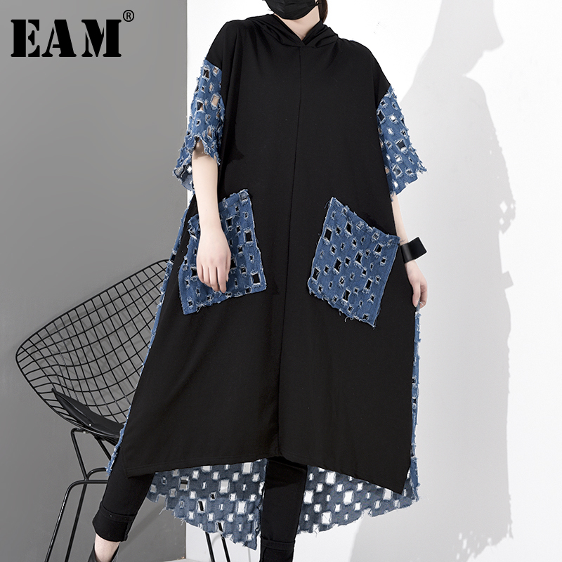 [EAM] Women Back Denim Hollow Out Big Size Long Dress New Hooded Short Sleeve Loose Fit Fashion Tide Spring Autumn 2020 1S056