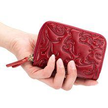 С функцией блокировки RFID маленький кошелек из искусственной кожи с цветочной вышивкой кредитной карты держатель, чехол, органайзер для Для женщин C90E