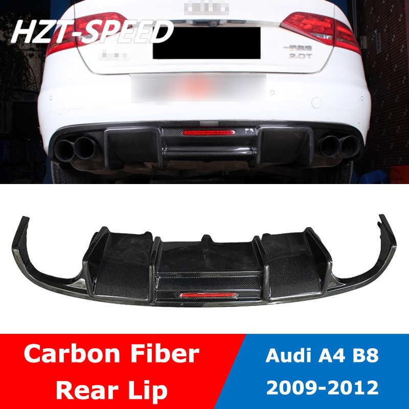 A4 B8 炭素繊維用の Led ライトとリアバンパーディフューザーリップスポイラーアウディ A4 標準車スタイリング非 sline モデル 2009-2012