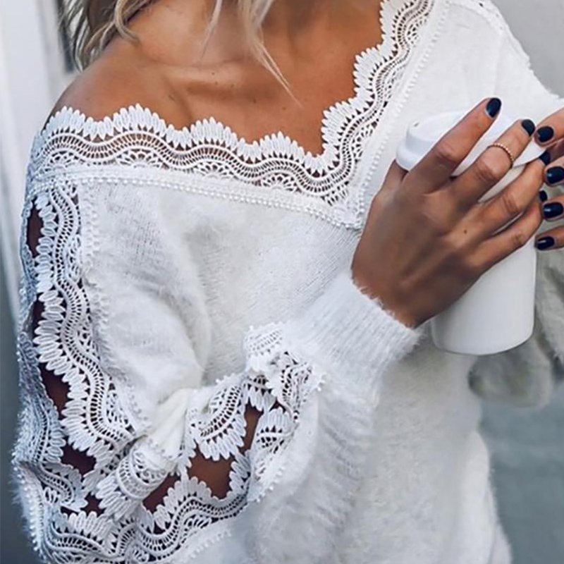 White V-neck Fringed Women's Sweater Hollow Out Lace Patchwork Fluffy Ladies Sweaters 2020 Spring Winter Fashion Pullovers Women