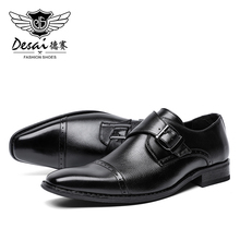 DESAI New Dress Causal Shoes Leather Male Italian Classic Vintage Lace-up Mens Brogue Oxford Men Boots