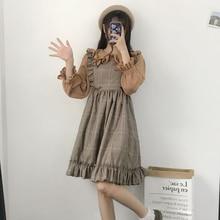 Vintage dulce lolita vestido japonés pequeño fresco dulce retro plaid sin mangas victoriano vestido kawaii chica gótico lolita loli cos