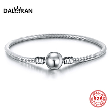 DALARAN 100% Real 925 Sterling Silver Round Buckle Snake Chain Bracelet Fit Orginal Brand DIY Beads Charm Jewelry Pulseira Gift
