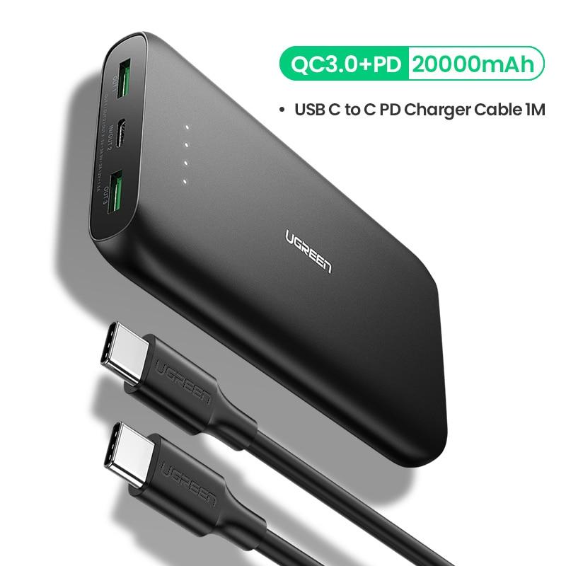 Ugreen внешний аккумулятор 20000 мАч, быстрое зарядное устройство для телефона, быстрая зарядка 4,0 QC3.0, портативный внешний аккумулятор для iPhone 11, XiaoMi PD, внешний аккумулятор - Цвет: with c to c cable